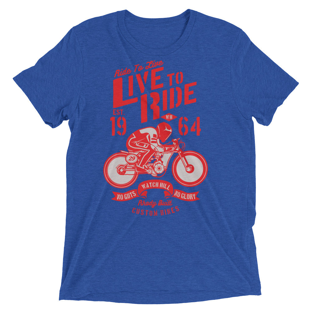 Watchill'n 'Live To Ride' Unisex Short sleeve t-shirt (Red) - Watch Hill RI t-shirts with vintage surfing and motorcycle designs.