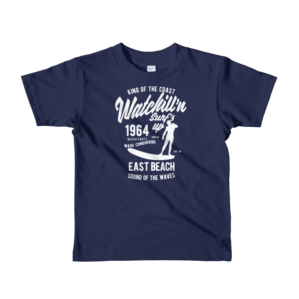 Watchill'n 'Surf's Up' - Short sleeve kids t-shirt (White) - Watch Hill RI t-shirts with vintage surfing and motorcycle designs.