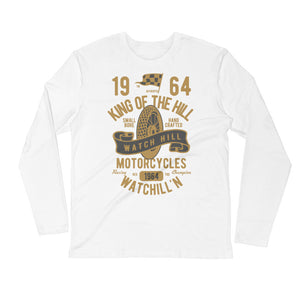 Watchill'n 'King of the Hill' Premium Long Sleeve Fitted Crew (Gold) - Watch Hill RI t-shirts with vintage surfing and motorcycle designs.