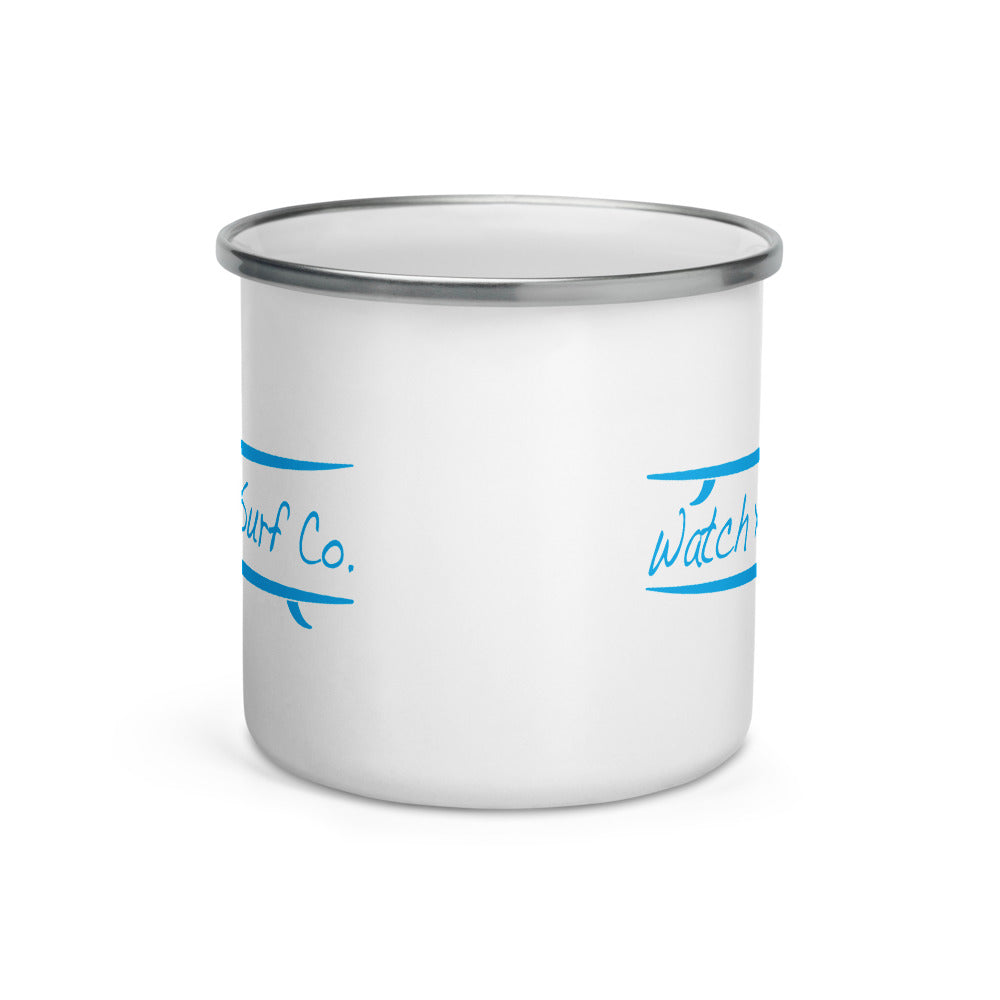 Watch Hill Surf Co. 'Parallel Boards' Enamel Mug (Cyan) - Watch Hill RI t-shirts with vintage surfing and motorcycle designs.