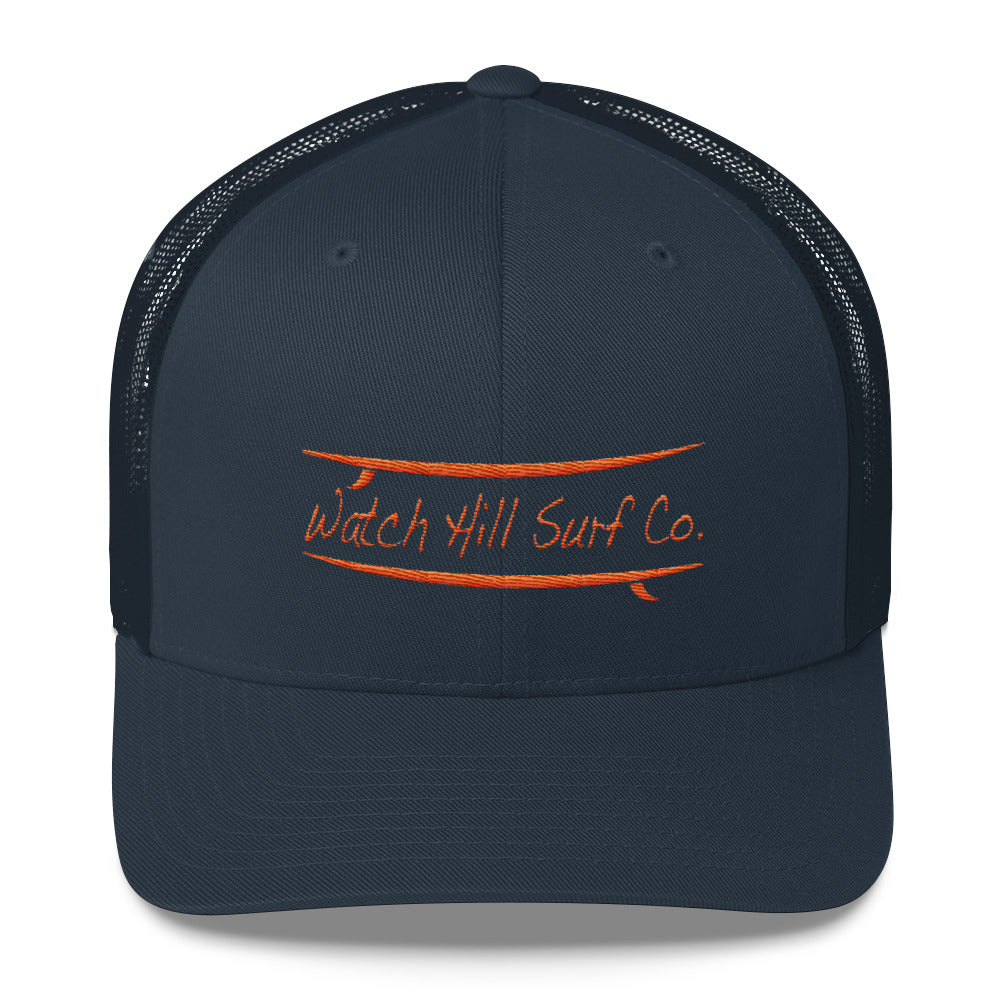 Watch Hill Surf Co. 'Parallel Boards' Trucker Cap (Orange) - Watch Hill RI t-shirts with vintage surfing and motorcycle designs.