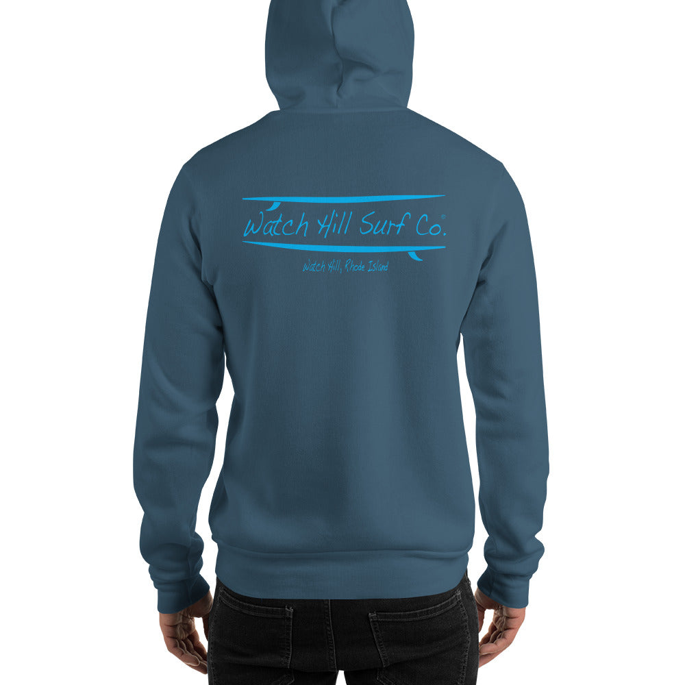 Watch Hill Surf Co. 'Parallel Boards' Unisex Hoodie - (Blue) - Watch Hill RI t-shirts with vintage surfing and motorcycle designs.