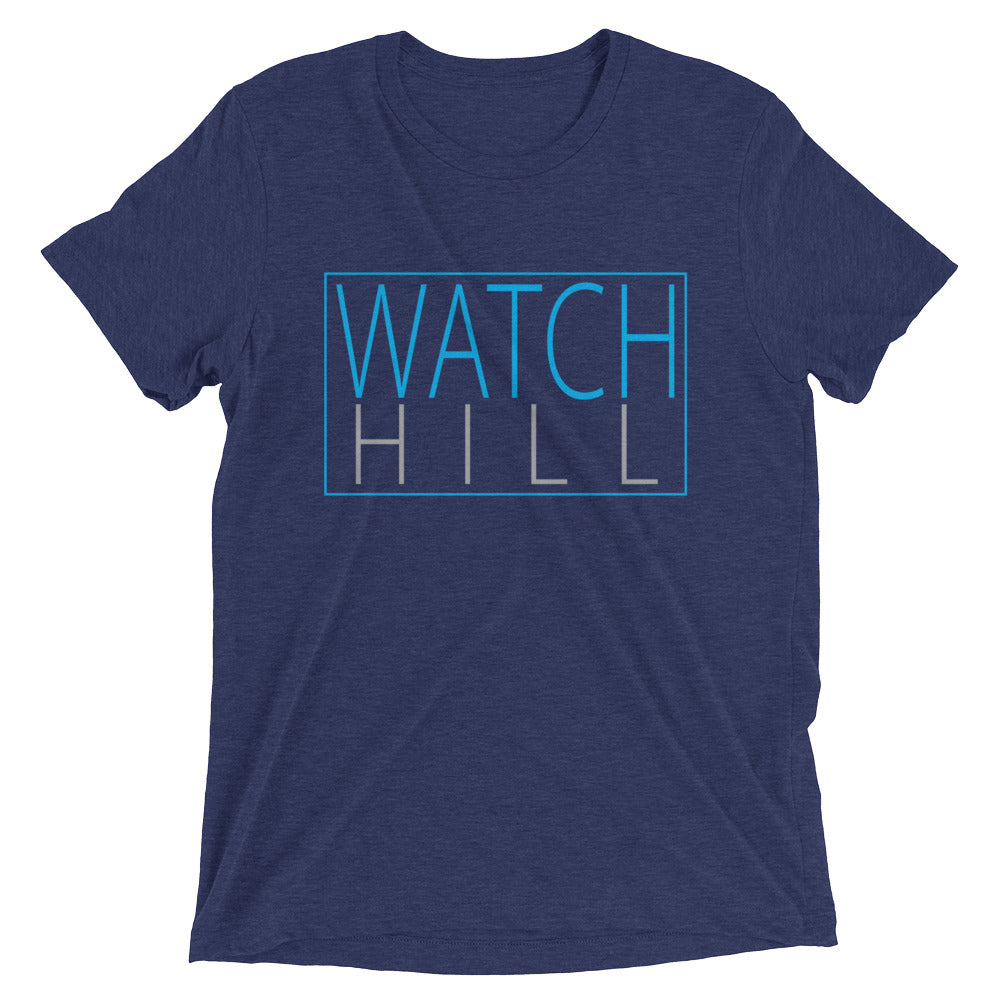 Watch Hill Rectangular Logo Premium Unisex Short Sleeve T-shirt (Cyan/Grey) - Watch Hill RI t-shirts with vintage surfing and motorcycle designs.