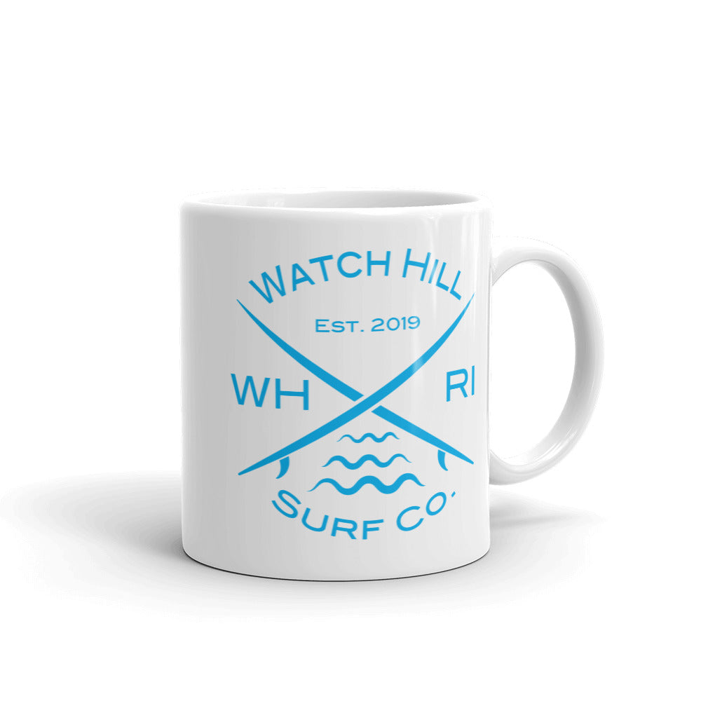 Watch Hill 'Surf Co.' Ceramic Mugs in 11oz. or 15oz. (Cyan) - Watch Hill RI t-shirts with vintage surfing and motorcycle designs.