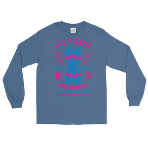 Watchill'n 'Live to Skate' - Long-Sleeve T-Shirt (Pink/Blue) - Watch Hill RI t-shirts with vintage surfing and motorcycle designs.