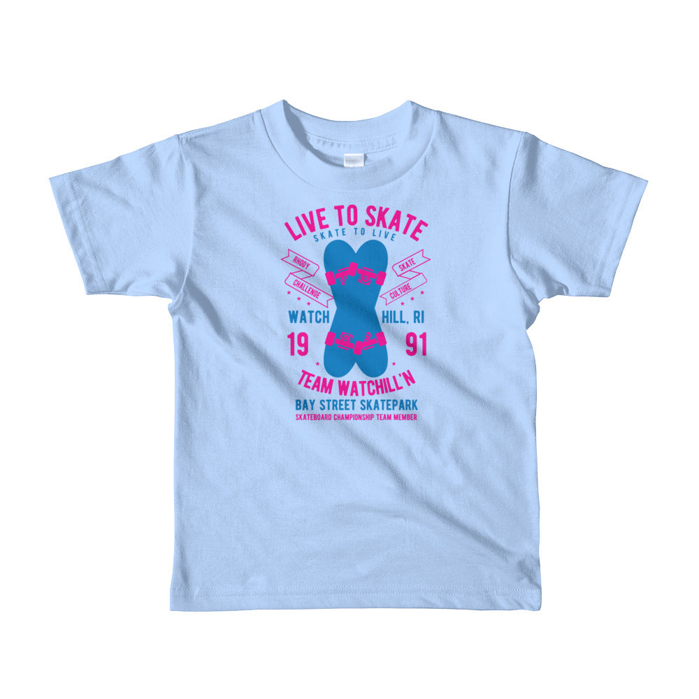 Watchill'n 'Live to Skate' - Short sleeve kids t-shirt (Pink/Blue) - Watchill'n
