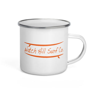 Watch Hill Surf Co. 'Parallel Boards' Enamel Mug (Orange) - Watch Hill RI t-shirts with vintage surfing and motorcycle designs.
