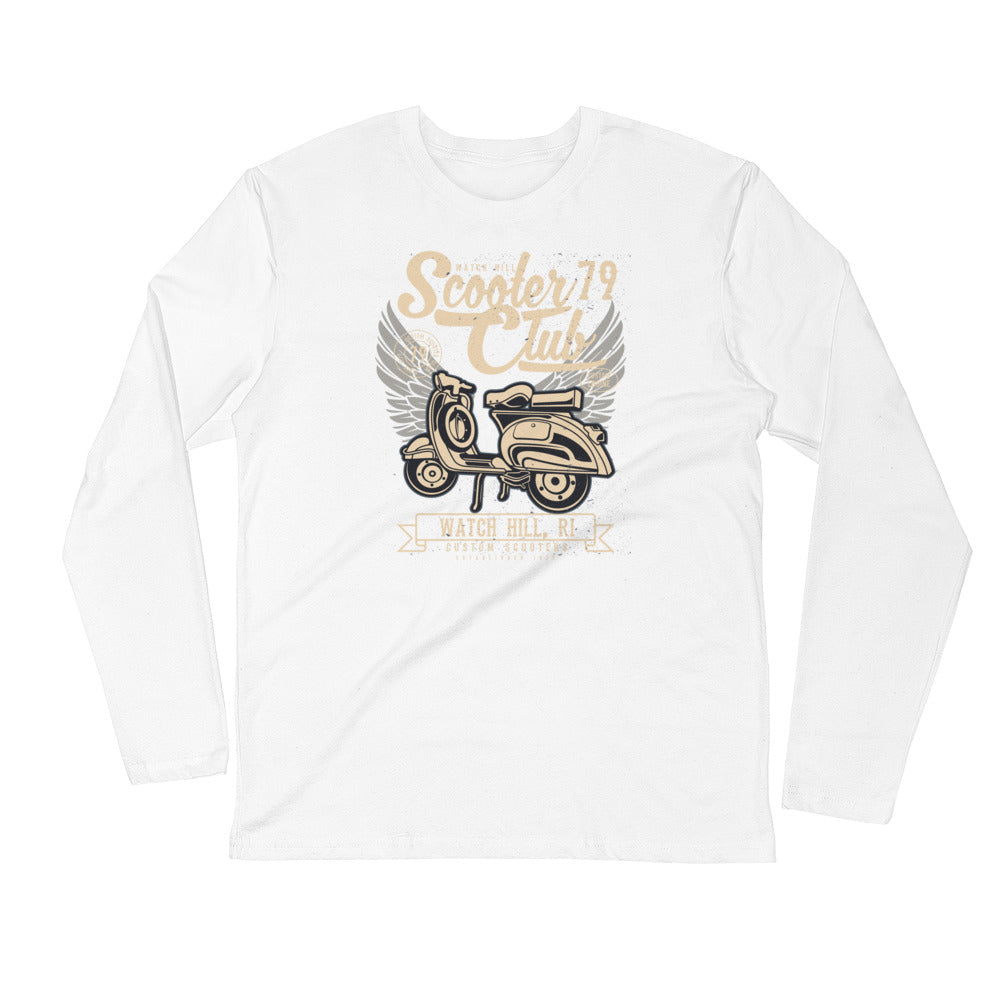 Watchill'n 'Scooter Club 2' Premium Long Sleeve Fitted Crew (Creme/Grey) - Watch Hill RI t-shirts with vintage surfing and motorcycle designs.