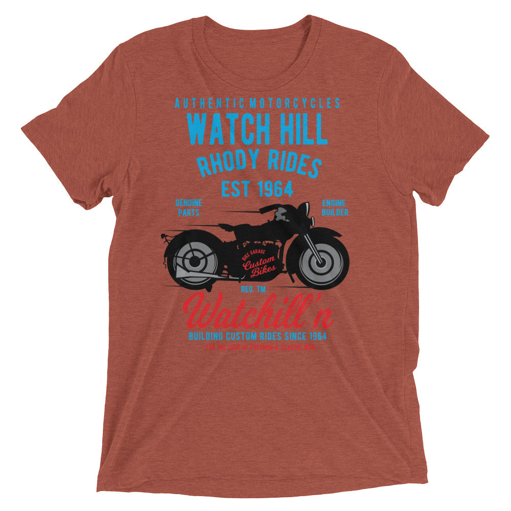Watchill'n 'Rhody Rides' Unisex Short sleeve t-shirt (Blue/Red) - Watchill'n