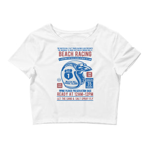 Watchill'n 'Beach Racing' - Women's Crop Tee (Blue/Red) - Watch Hill RI t-shirts with vintage surfing and motorcycle designs.