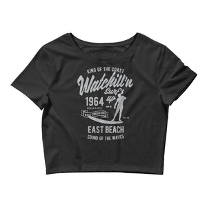 Watchill'n 'Surf's Up' - Women's Crop Tee (Grey) - Watch Hill RI t-shirts with vintage surfing and motorcycle designs.