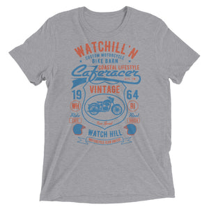 Watchill'n 'Bike Barn' Unisex Short sleeve t-shirt (Rust/Blue) - Watch Hill RI t-shirts with vintage surfing and motorcycle designs.