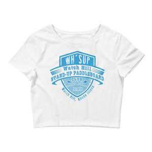 Watchill'n 'Paddle Board Club' - Women's Crop Tee (Blue) - Watch Hill RI t-shirts with vintage surfing and motorcycle designs.