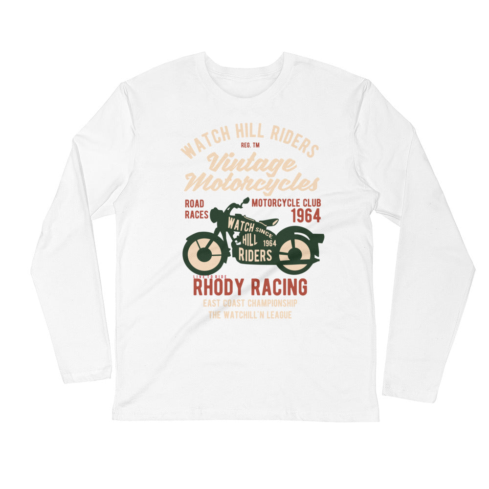 Watchill'n 'Vintage Motorcycles' Premium Long Sleeve Fitted Crew (Green/Creme) - Watch Hill RI t-shirts with vintage surfing and motorcycle designs.
