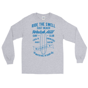 Watchill'n 'Ride the Swell' - Long-Sleeve T-Shirt (Blue) - Watch Hill RI t-shirts with vintage surfing and motorcycle designs.
