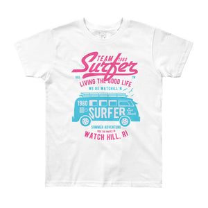 Watchill'n 'Team Surfer' - Youth Short Sleeve T-Shirt (Pink/Turquoise) - Watch Hill RI t-shirts with vintage surfing and motorcycle designs.
