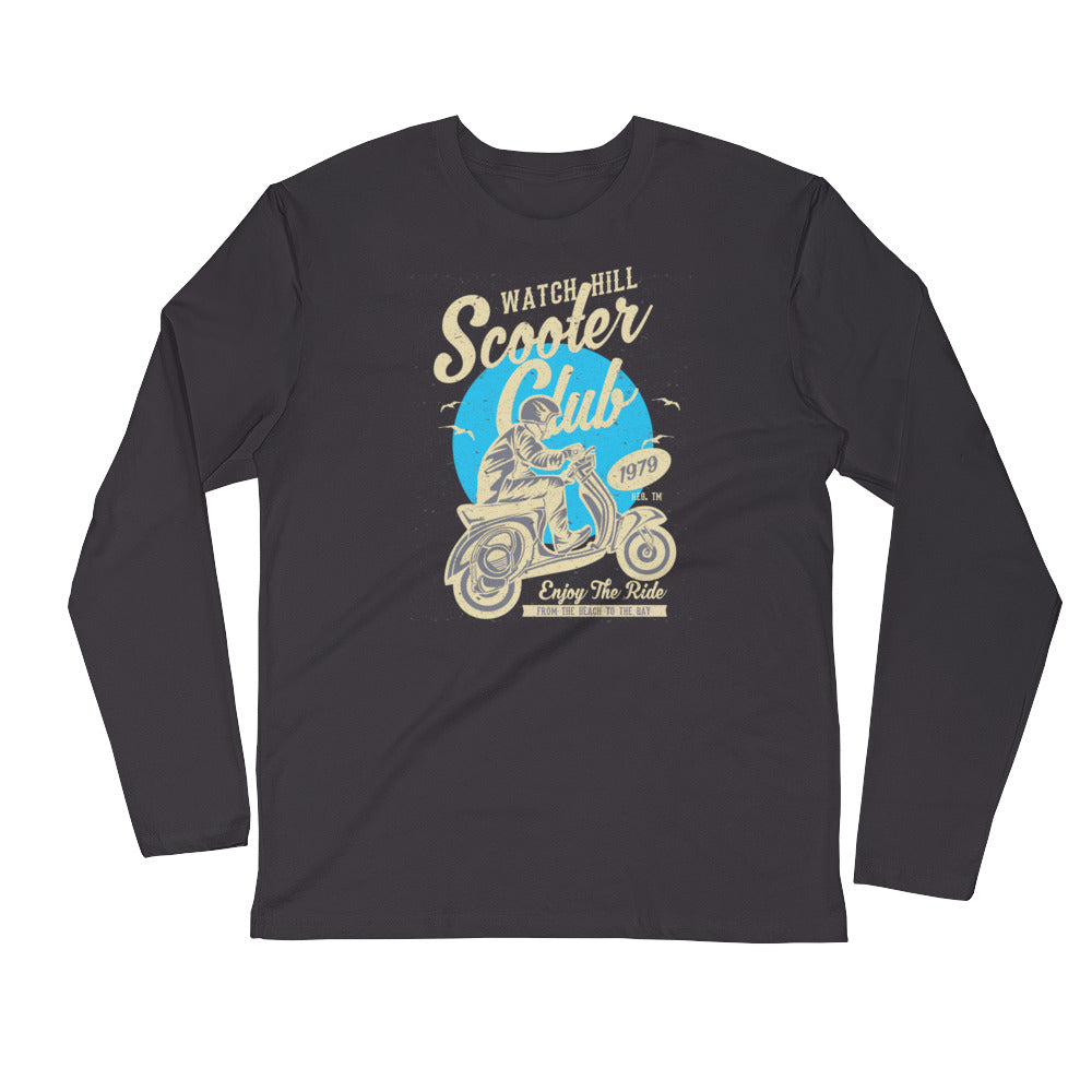Watchill'n 'Scooter Rider' Premium Long Sleeve Fitted Crew (Tan/Cyan) - Watch Hill RI t-shirts with vintage surfing and motorcycle designs.