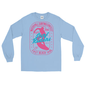 Watchill'n 'Surf Rider' - Long-Sleeve T-Shirt (Pink) - Watch Hill RI t-shirts with vintage surfing and motorcycle designs.