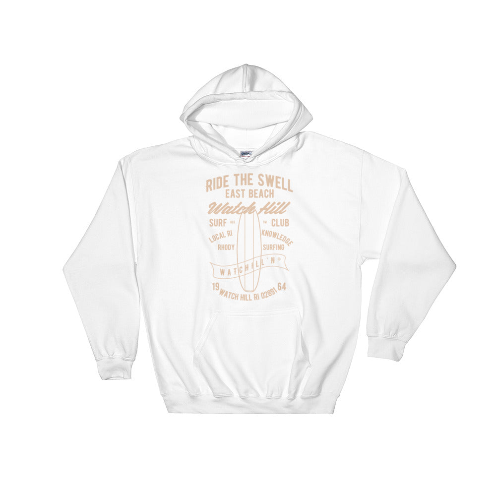 Watchill'n 'Ride the Swell' - Hoodie (Khaki) - Watch Hill RI t-shirts with vintage surfing and motorcycle designs.