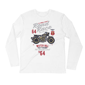 Watchill'n 'Road Race' Premium Long Sleeve Fitted Crew (Maroon/Grey) - Watch Hill RI t-shirts with vintage surfing and motorcycle designs.