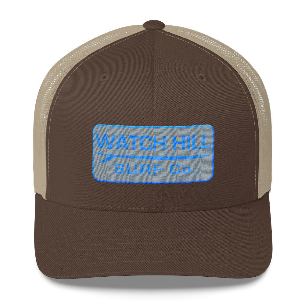 Watch Hill Surf Co. 'Patch Logo' Trucker Cap (Grey/Cyan) - Watch Hill RI t-shirts with vintage surfing and motorcycle designs.