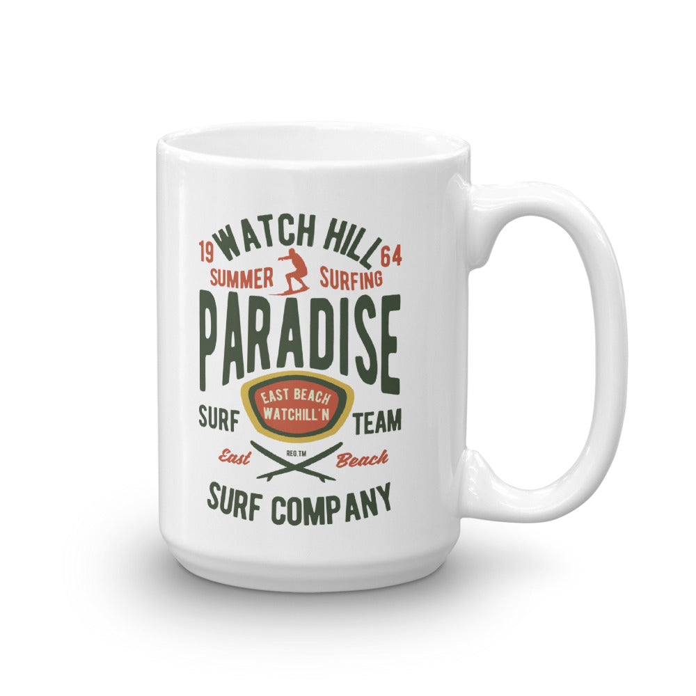 Watchill'n 'Summer Surfing' Ceramic Mug - (Green/Terracotta) - Watch Hill RI t-shirts with vintage surfing and motorcycle designs.