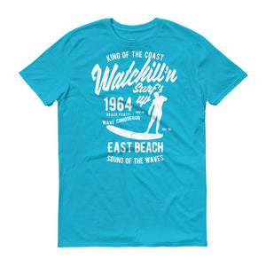 Watchill'n 'Surf's Up' - Short-Sleeve Unisex T-Shirt (White) - Watchill'n