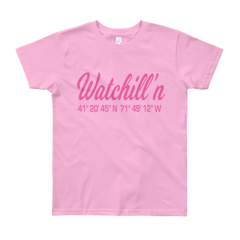 Watchill'n 'Coordinates' Logo - Youth Short Sleeve T-Shirt (Pink) - Watchill'n