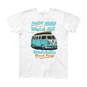 Watchill'n 'Beach Party' - Youth Short Sleeve T-Shirt (Turquoise) - Watch Hill RI t-shirts with vintage surfing and motorcycle designs.