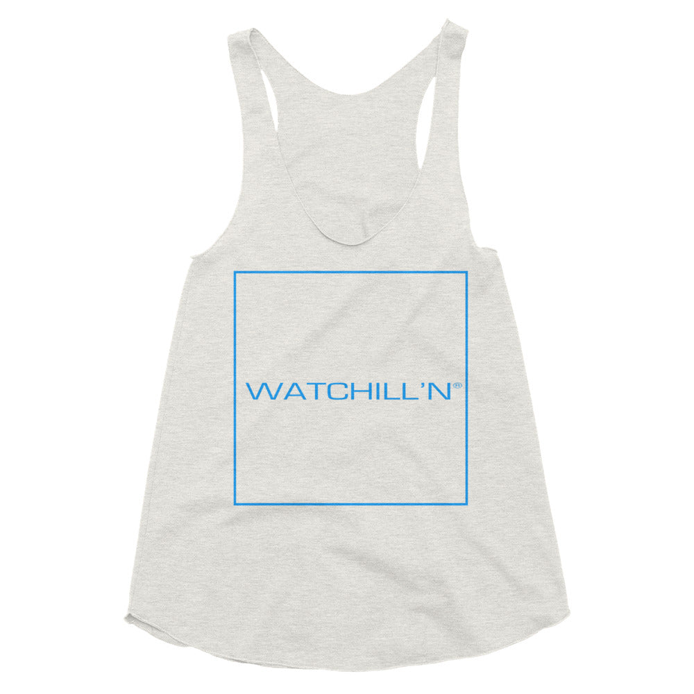 Watchill'n Women's Tri-Blend Racerback Tank (Blue) - Watchill'n