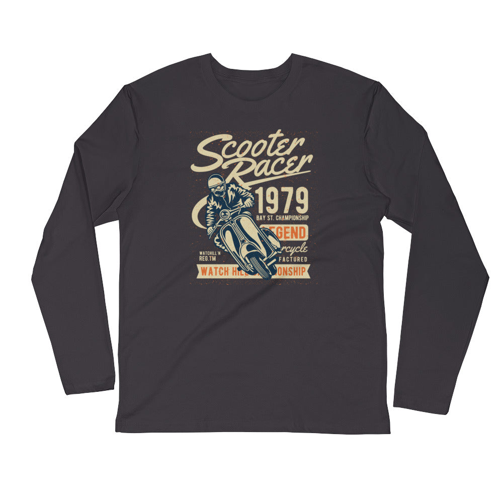 Watchill'n 'Scooter Racer' Premium Long Sleeve Fitted Crew (Tan/Orange) - Watch Hill RI t-shirts with vintage surfing and motorcycle designs.