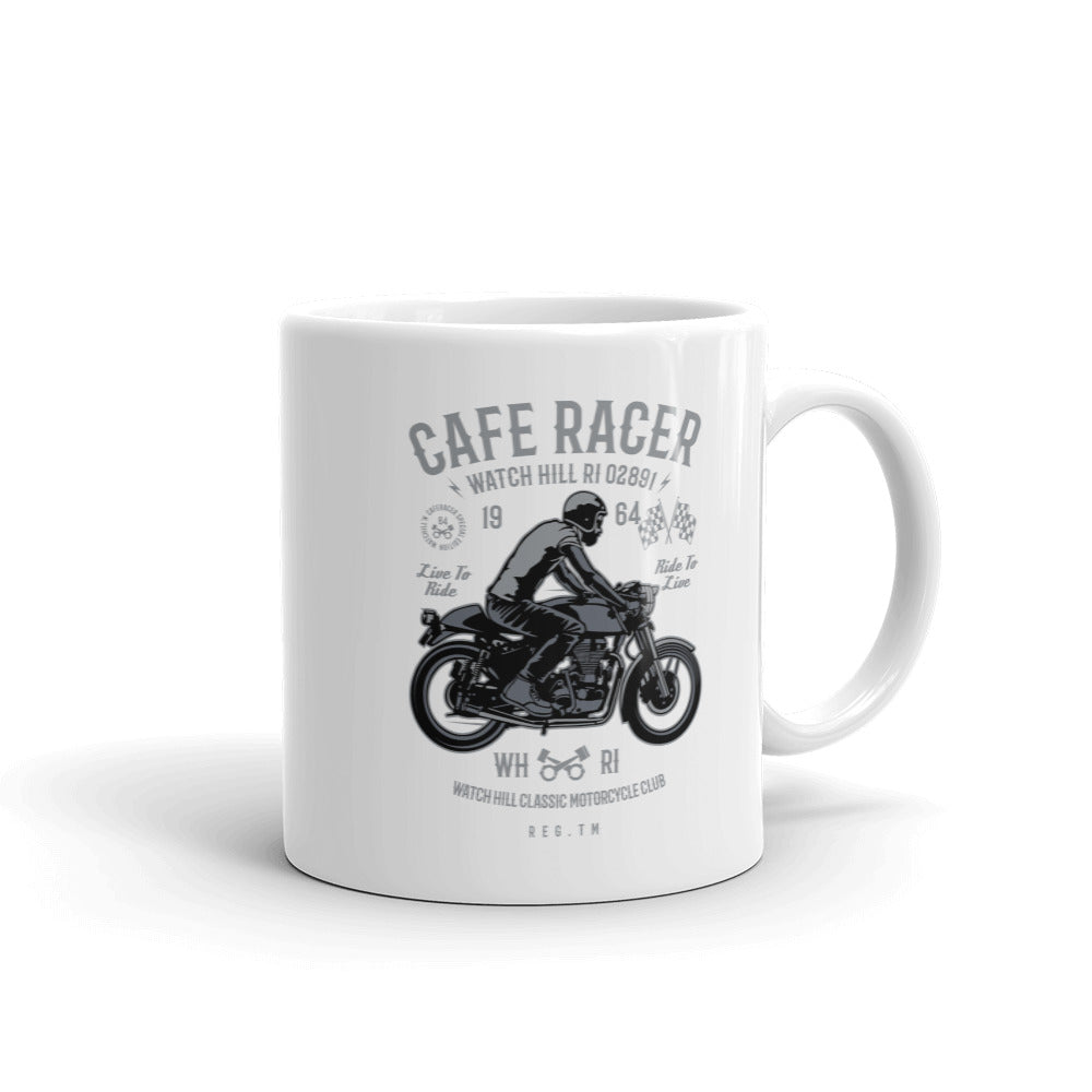 Watchill'n 'Cafe Racer' Ceramic Mug - (Grey/Black) - Watch Hill RI t-shirts with vintage surfing and motorcycle designs.