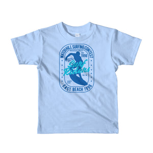Watchill'n 'Surf Rider' - Short sleeve kids t-shirt (Blue/Turquoise) - Watch Hill RI t-shirts with vintage surfing and motorcycle designs.