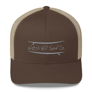 Watch Hill Surf Co. 'Parallel Boards' Trucker Cap (Grey) - Watch Hill RI t-shirts with vintage surfing and motorcycle designs.
