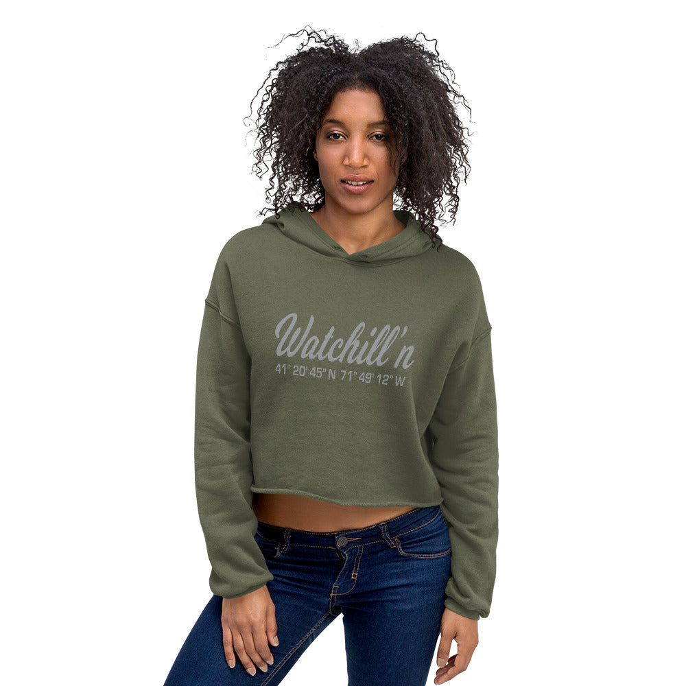 Watchill'n 'Coordinates' Logo - Women's Cropped Fleece Hoodie (Grey) - Watch Hill RI t-shirts with vintage surfing and motorcycle designs.