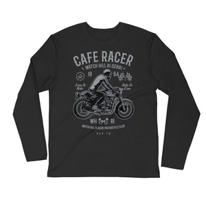 Watchill'n 'Cafe Racer' Premium Long Sleeve Fitted Crew (Grey) - Watch Hill RI t-shirts with vintage surfing and motorcycle designs.