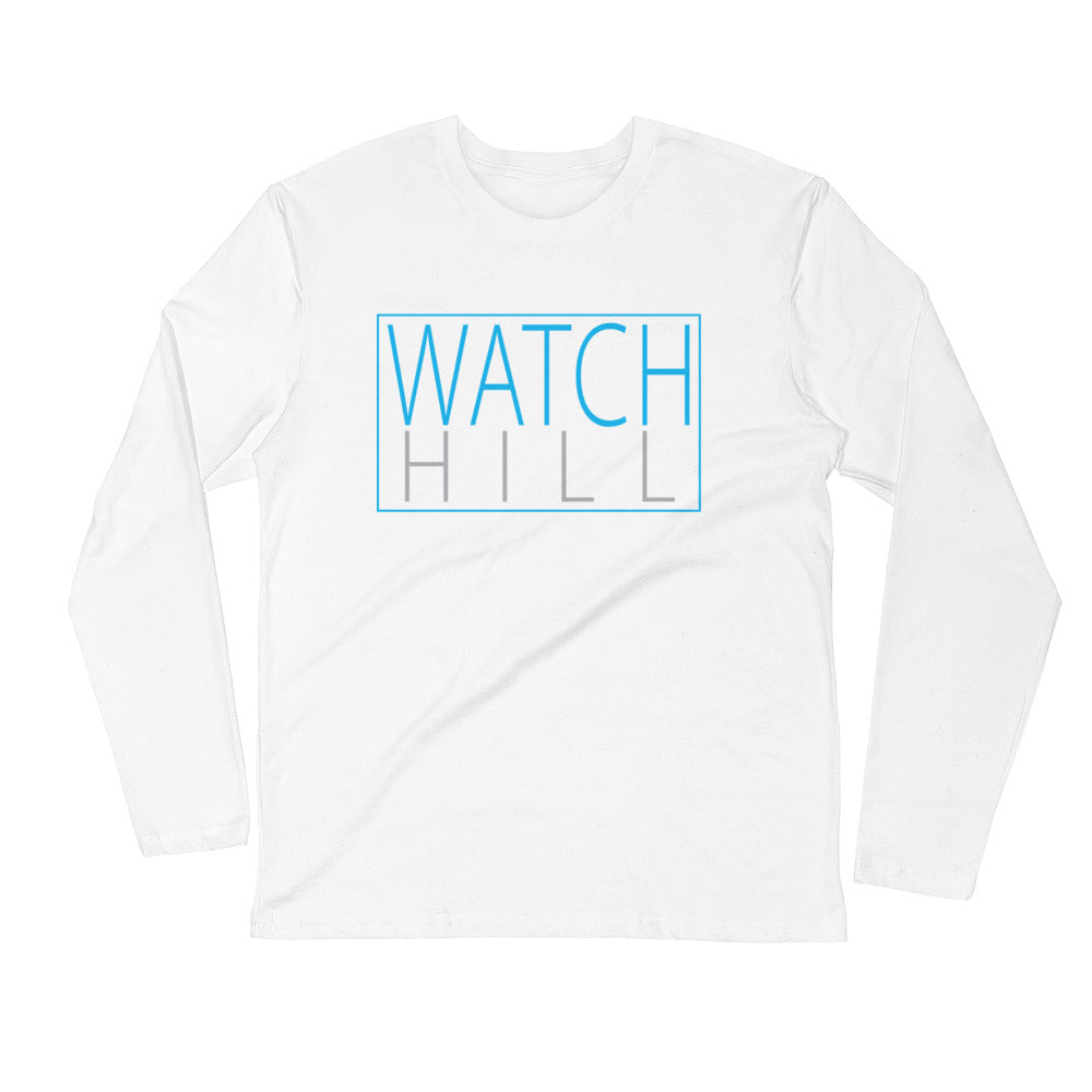 Watch Hill Rectangular Logo Premium Long Sleeve Fitted Crew (Cyan/Grey) - Watch Hill RI t-shirts with vintage surfing and motorcycle designs.