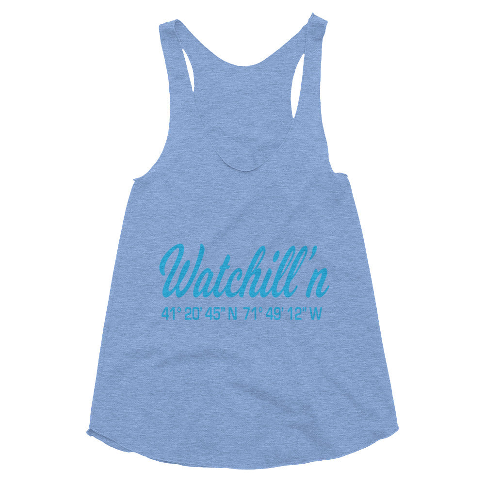 Watchill'n 'Coordinates' Logo Women's Tri-Blend Racerback Tank (Cyan) - Watch Hill RI t-shirts with vintage surfing and motorcycle designs.