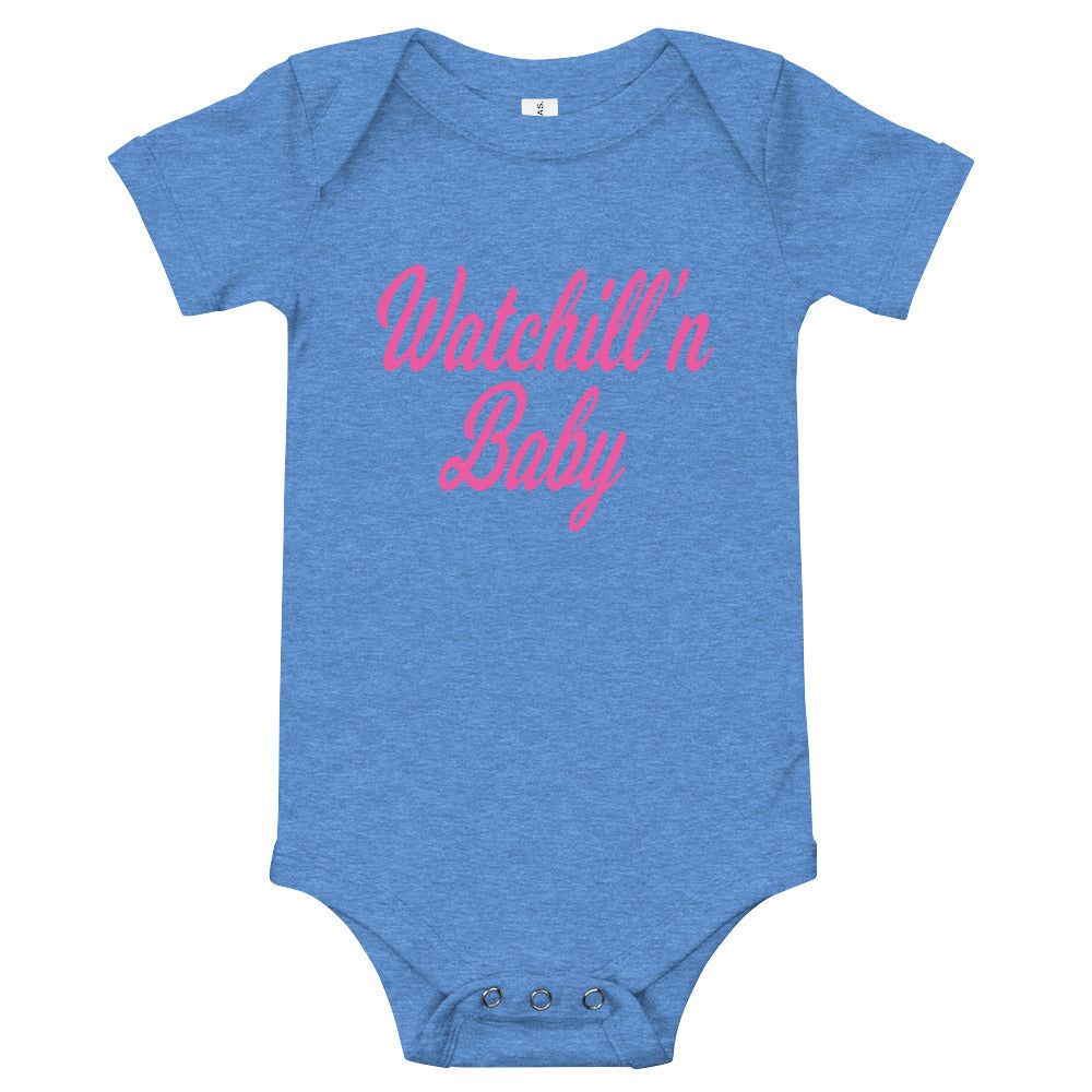 Watchill'n 'Baby' - Jersey Short Sleeve One Piece (Pink) - Watch Hill RI t-shirts with vintage surfing and motorcycle designs.