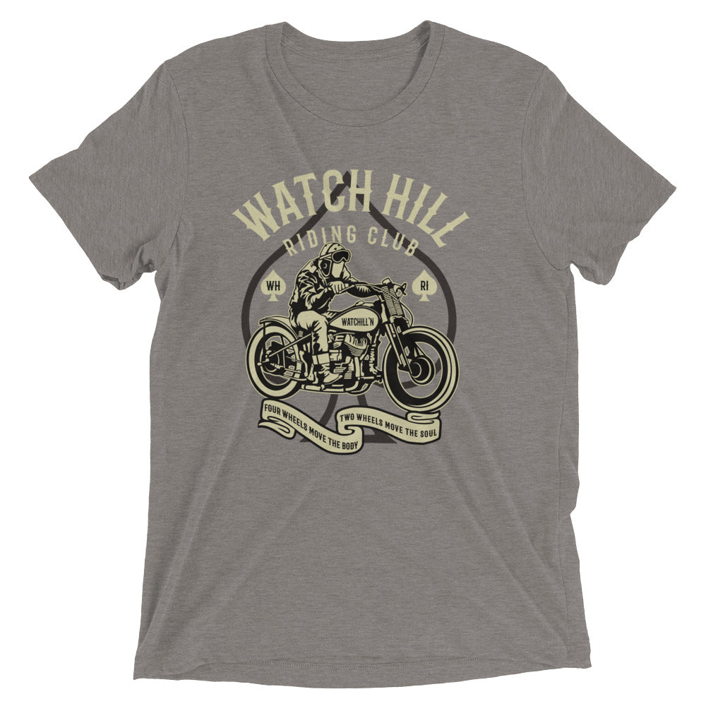 Watchill'n 'Riders Club 2' Unisex Short sleeve t-shirt (Creme/Dk Grey) - Watch Hill RI t-shirts with vintage surfing and motorcycle designs.