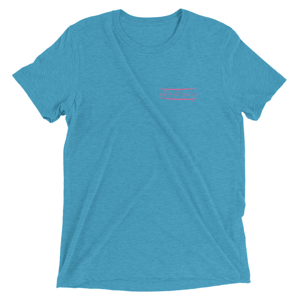 Watch Hill Surf Co. 'Parallel Boards' Unisex Short sleeve t-shirt (Pink) - Watch Hill RI t-shirts with vintage surfing and motorcycle designs.