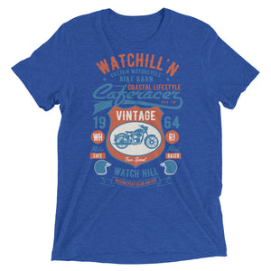 Watchill'n 'Bike Barn' Unisex Short sleeve t-shirt (Rust/Lt Blue) - Watch Hill RI t-shirts with vintage surfing and motorcycle designs.