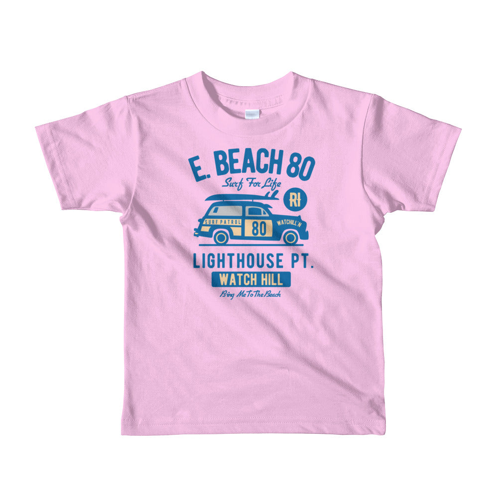 Watchill'n 'Beach Buggy' - Short sleeve kids t-shirt (Blue) - Watch Hill RI t-shirts with vintage surfing and motorcycle designs.