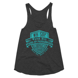 Watchill'n 'Paddle Board Club' - Women's Tri-Blend Racerback Tank (Turquoise) - Watch Hill RI t-shirts with vintage surfing and motorcycle designs.