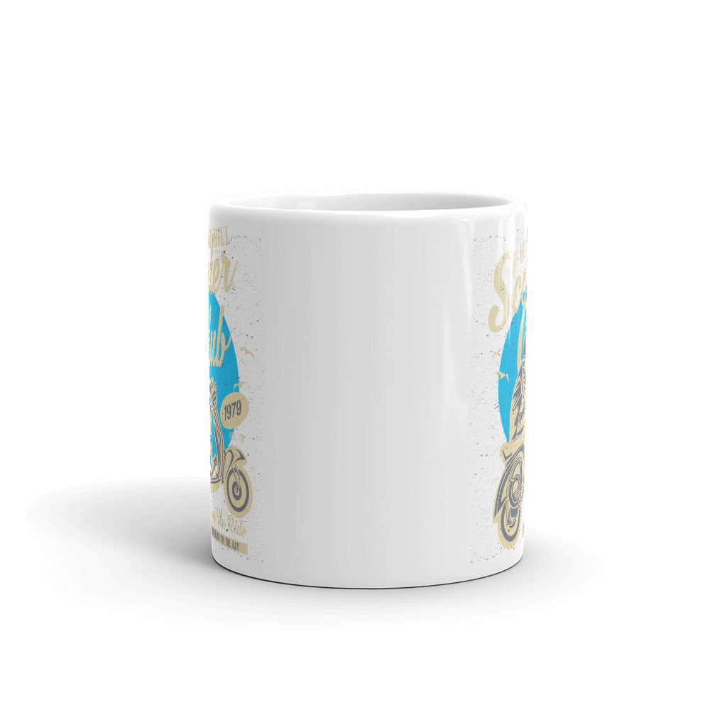 Watchill'n 'Scooter Club' Ceramic Mugs in 11oz. or 15oz. (Creme/Cyan) - Watch Hill RI t-shirts with vintage surfing and motorcycle designs.