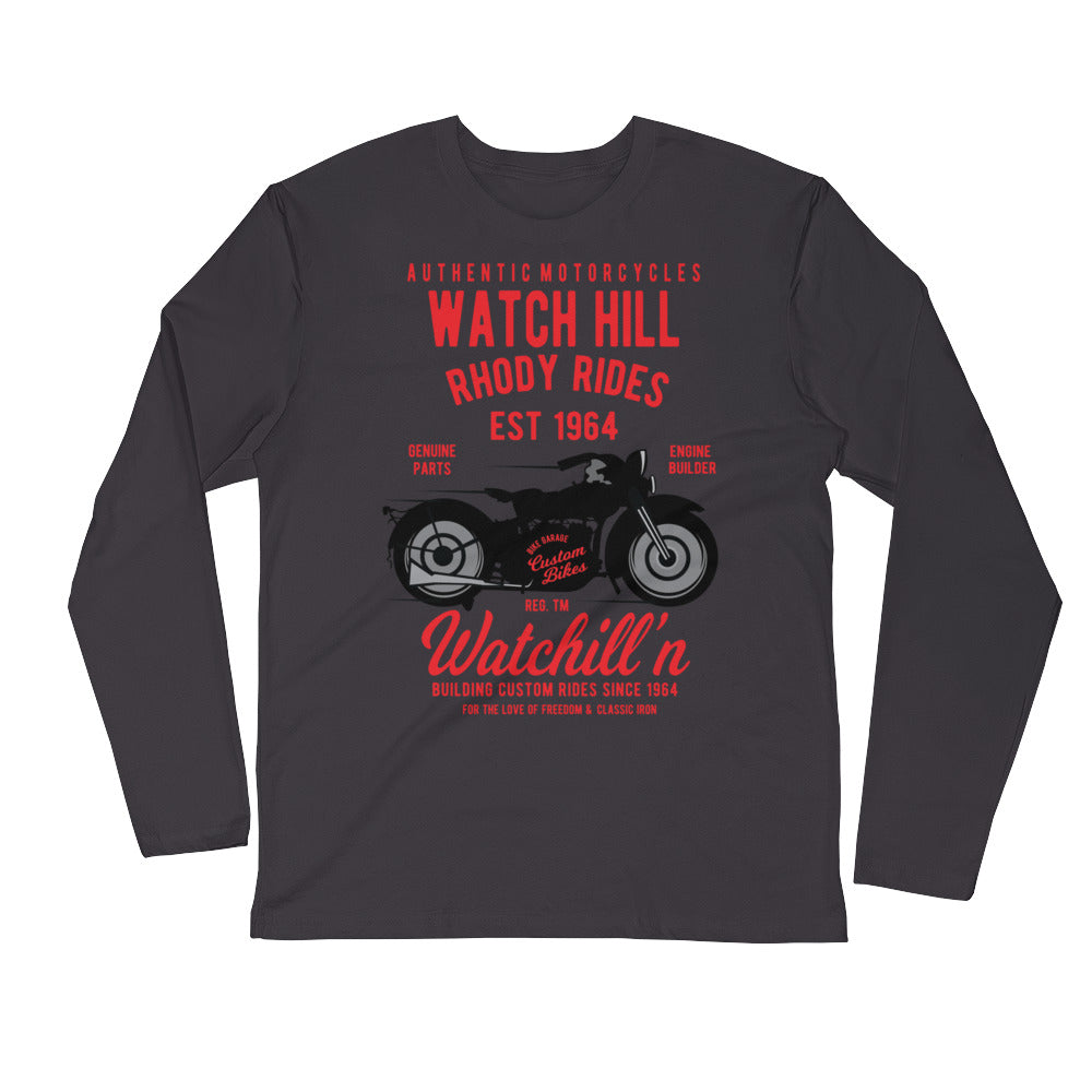 Watchill'n 'Rhody Rides' Premium Long Sleeve Fitted Crew (Red) - Watchill'n