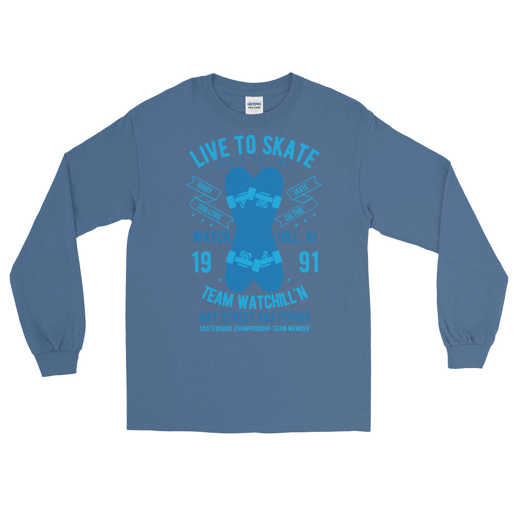 Watchill'n 'Live to Skate' - Long-Sleeve T-Shirt (Lt. Blue/Blue) - Watch Hill RI t-shirts with vintage surfing and motorcycle designs.