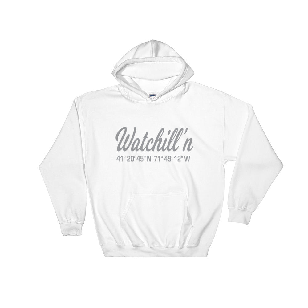 Watchill'n 'Coordinates' Logo - Hoodie (Grey) - Watch Hill RI t-shirts with vintage surfing and motorcycle designs.
