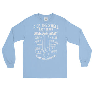 Watchill'n 'Ride the Swell' - Long-Sleeve T-Shirt (White) - Watch Hill RI t-shirts with vintage surfing and motorcycle designs.
