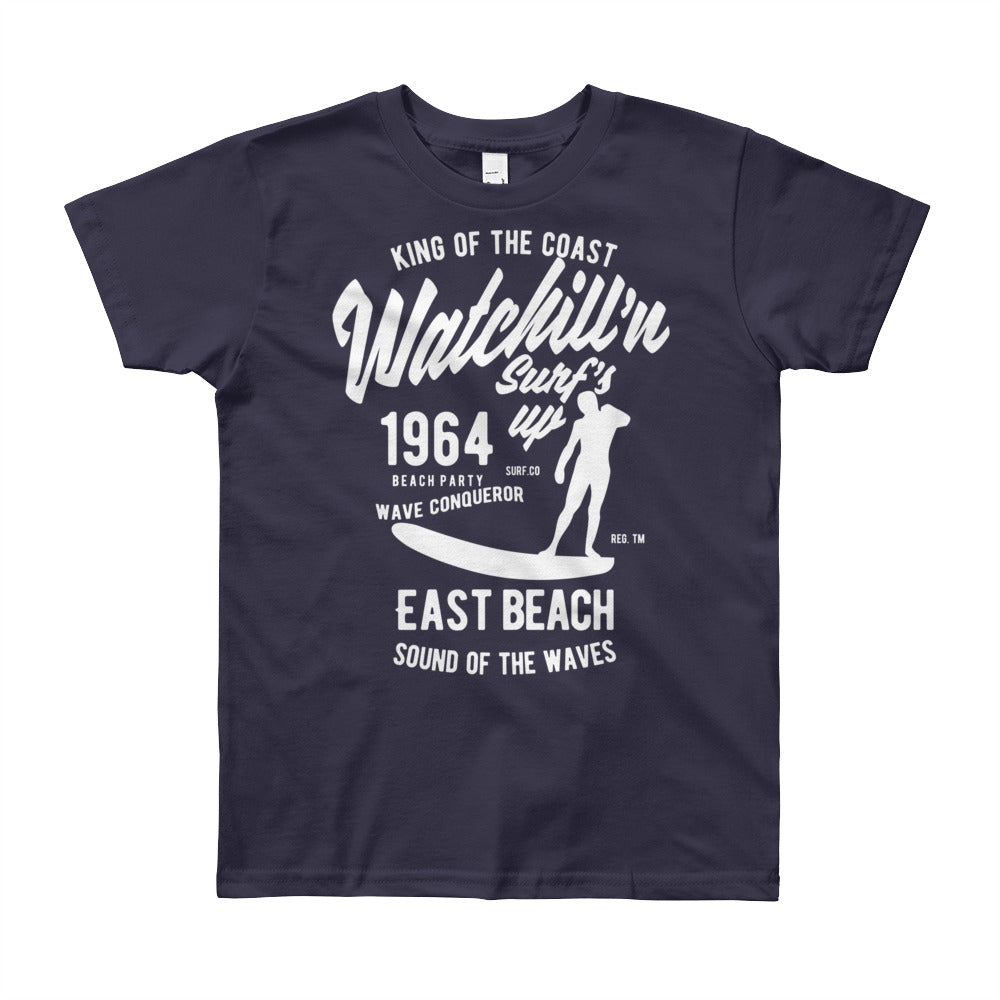 Watchill'n 'Surf's Up' - Youth Short Sleeve T-Shirt (White) - Watch Hill RI t-shirts with vintage surfing and motorcycle designs.